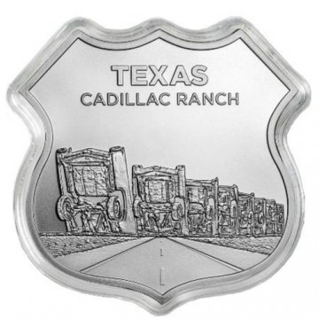1 oz Silver - Icons of Route 66 Shield Series - Texas Cadillac Ranch