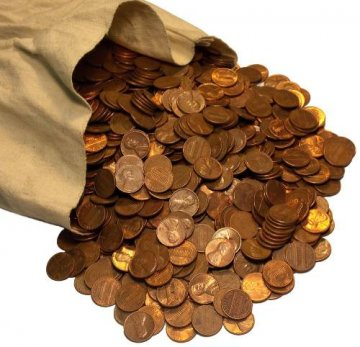 Copper Cent Coin Bags - 5,000 Wheat, Memorial, Canadian Cents - Dated 1982 or Earlier!