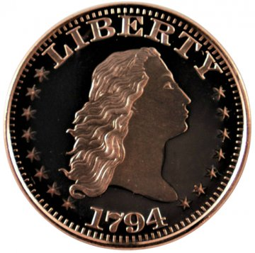 1 oz Copper Round - 1794 Flowing Hair Dollar Design
