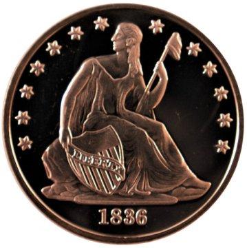1 oz Copper Round - 1836 Seated Dollar Design