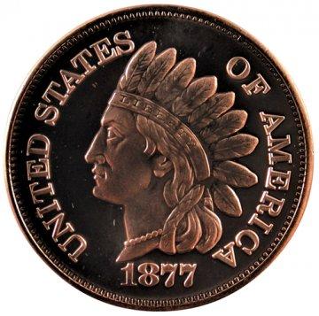 1 oz Copper Round - 1877 Indian Head Cent Design