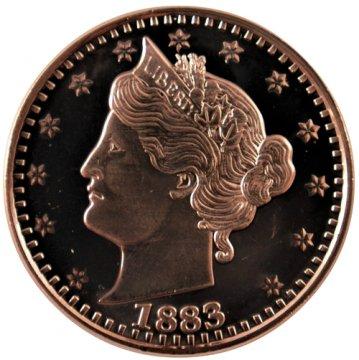 1 oz 1883 Liberty Nickel Copper Round