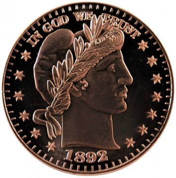 1 oz Copper Round - 1892 Barber Half Dollar Design
