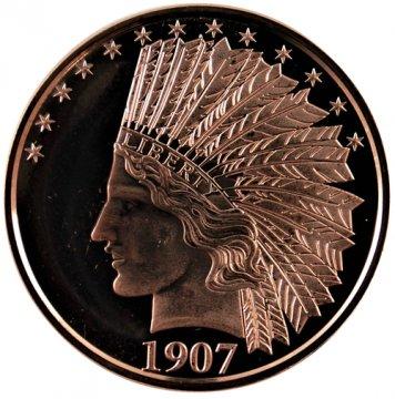 1 oz Copper Round - 1907 10.00 Gold Indian Design