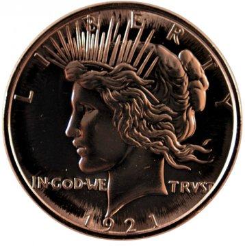 1 oz Copper Round - 1921 Peace Dollar Design