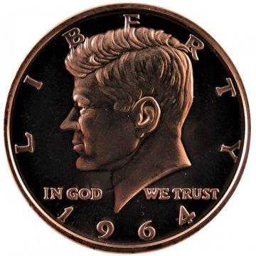 1 oz Copper Round - 1964 Kennedy Half Dollar Design