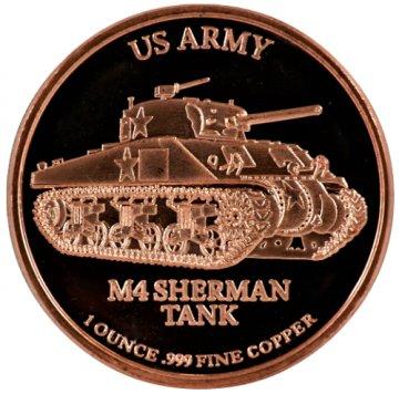 1 oz Copper Round - U.S. Army M4 Sherman Tank Design