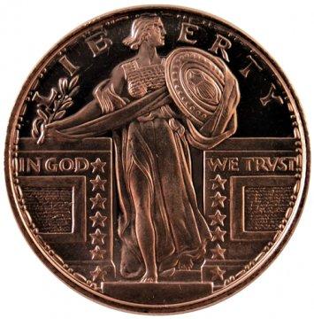 1 oz Copper Round - Standing Liberty Quarter Design