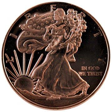 1 oz Copper Round - Walking Liberty Design
