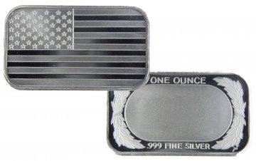 1 oz Silver Bar - American Flag Design - Save On Quantities!