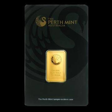 Perth Mint 10 gram Gold Bar In Assay card obverse
