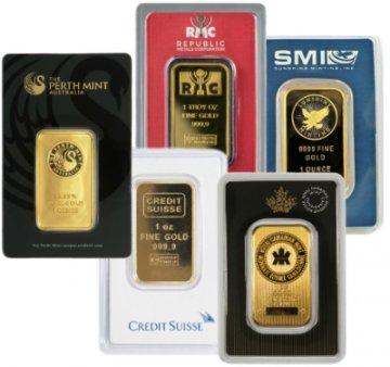 1 oz Gold Bar - Random Design, w/ Assay in TEP Packaging