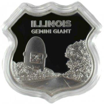1 oz Silver - Icons of Route 66 Shield Series - Illinois Gemini Giant
